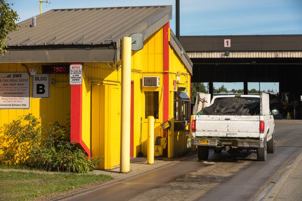 A truck is weighed as it goes into the central transfer station Friday, Aug. 10, 2018. Solid Waste Services, which operates the transfer station, is closing for three weeks starting Aug. 14 for renovations. (Loren Holmes / ADN)
