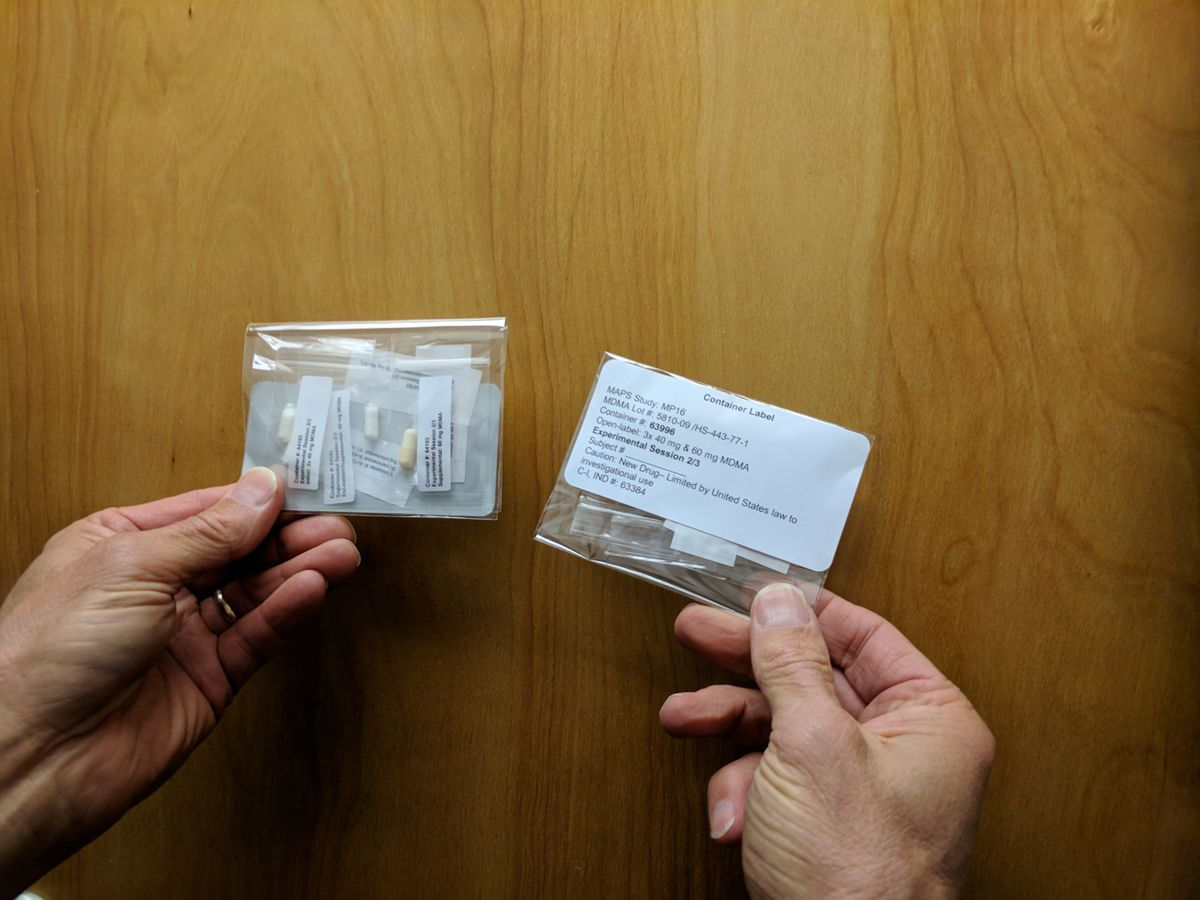 Packets of MDMA, often used as a party drug and known as Ecstasy or Molly. A majority of 26 combat veterans and first-responders with chronic PTSD who had not been helped by traditional methods saw dramatic decreases in symptoms after taking MDMA, according to a study published on May 1, 2018. (Multidisciplinary Association for Psychedelic Studies via The New York Times)