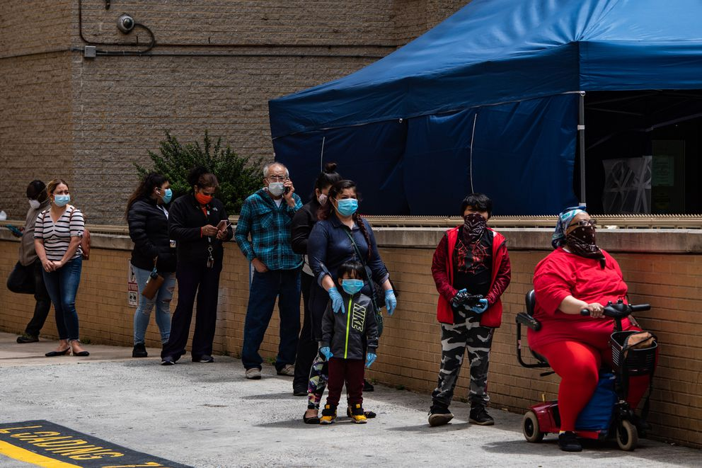 People wait in line to be tested for covid-19 in Washington on Tuesday, May 19, 2020. Washington Post photo by Salwan Georges