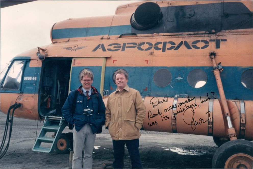 In 1989, author David Ramseur, left, joined Gov. Steve Cowper on a trade mission to the Russian Far East. They are shown here in the village of Uelen. (Courtesy David Ramseur)