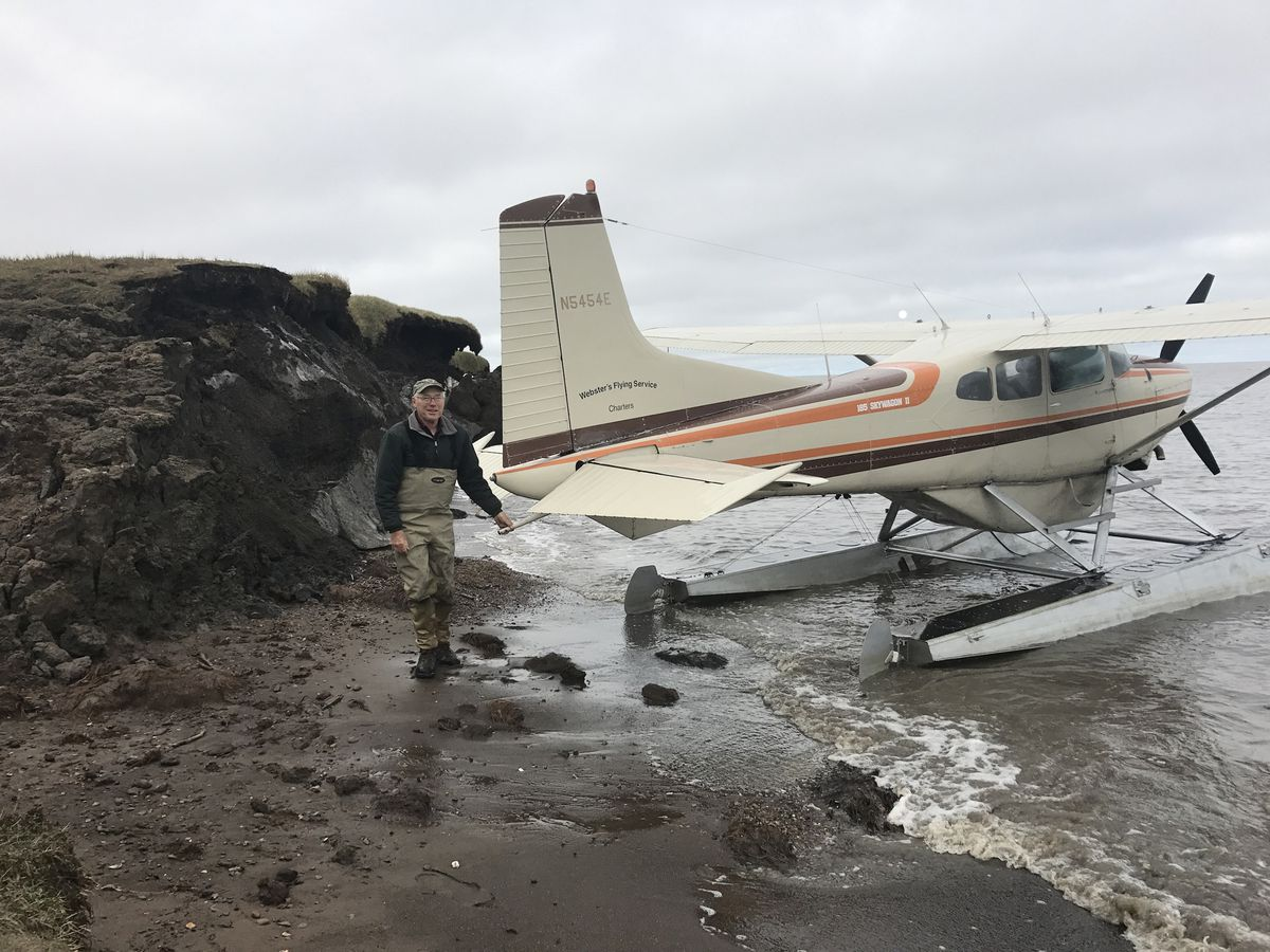 In August, pilot Jim Webster of Webster's Flying Service in Fairbanks found a 40-year-old plastic disc released in 1979 to determine the fate of oil spilled in northern Alaska. (Ben Jones)