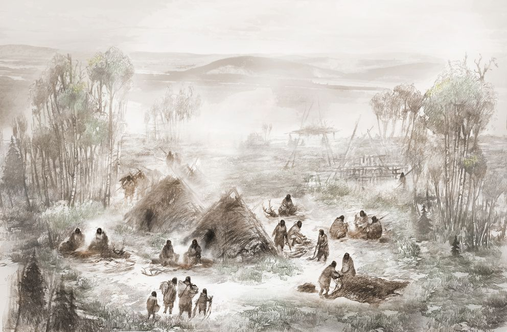 An illustration of ancient Native Americans in what is today called the Upward Sun River site in central Alaska. The 11,500-year-old skeleton of an infant girl found at the site has offered genetic clues to how people arrived in the Americas. (Eric S. Carlson via The New York Times)