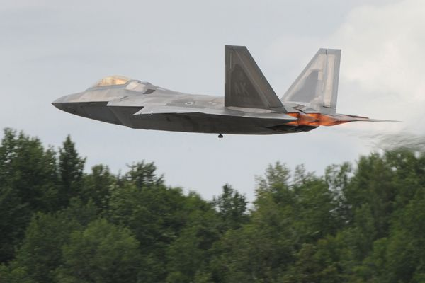 An F-22 Raptor takes off from Joint Base Elmendorf-Richardson on Wednesday, June 27, 2018. (Bill Roth / ADN)