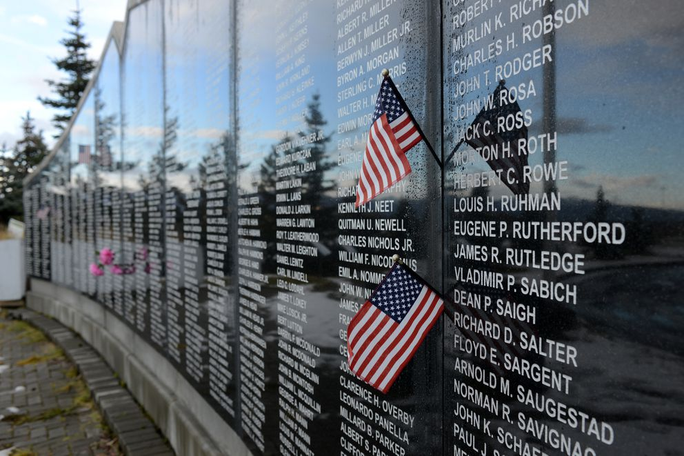 The names of 1,067 American and Allied airmen killed, captured, missing or detained by the Russians are displayed at the Eleventh Air Force/Americans Home from Siberia Memorial at Merrill Field. (Erik Hill / Alaska Dispatch News)
