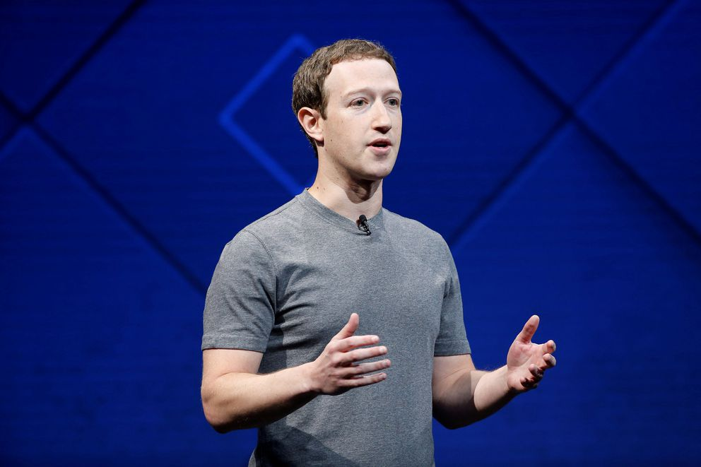 Facebook Founder and CEO Mark Zuckerberg speaks on stage during the annual Facebook F8 developers conference in San Jose, California, U.S., April 18, 2017. (Stephen Lam / Reuters file)