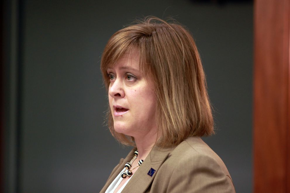 Anchorage Republican Sen. Mia Costello states her opposition to the proposed income tax during the Alaska Senate's debate on the measure. (Nathaniel Herz / Alaska Dispatch News)