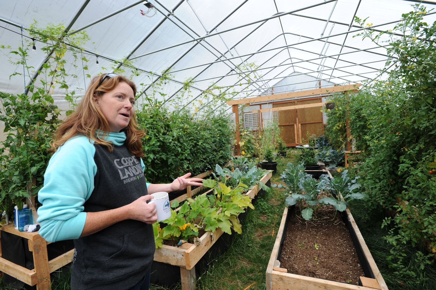 Jen Harpe talks about her businesses and the Swan Lake fire in her high tunnel greenhouse Sept. 6, 2019. (Anne Raup / ADN)