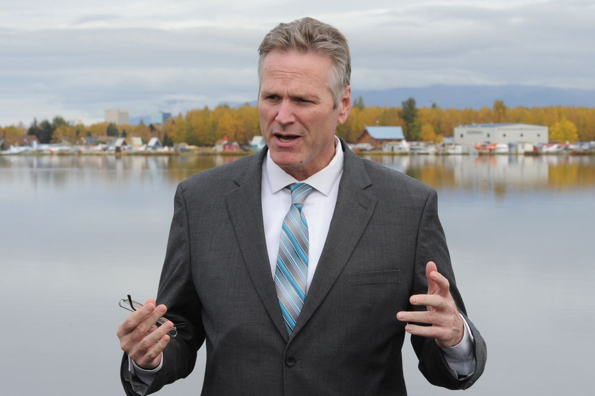 Alaska Governor Mike Dunleavy at Lake Hood Seaplane Base in Anchorage on Wednesday, Oct. 2, 2019. (Bill Roth / ADN)