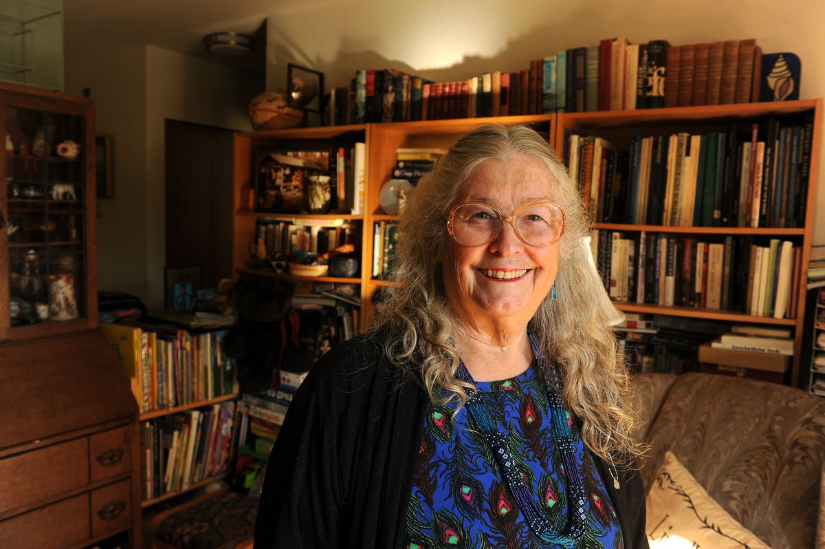 Gretchen Bersch, one of the founders of OLE senior education group, poses for a photograph in her living room in Anchorage, Alaska on Wednesday, Sept. 20, 2017. (Bob Hallinen / Alaska Dispatch News)