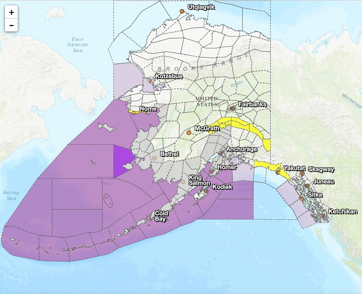 Screen shot from the National Weather Service Anchorage Office on September 11, 2019, showing current hazards. Darker purple means storm or gale warning.