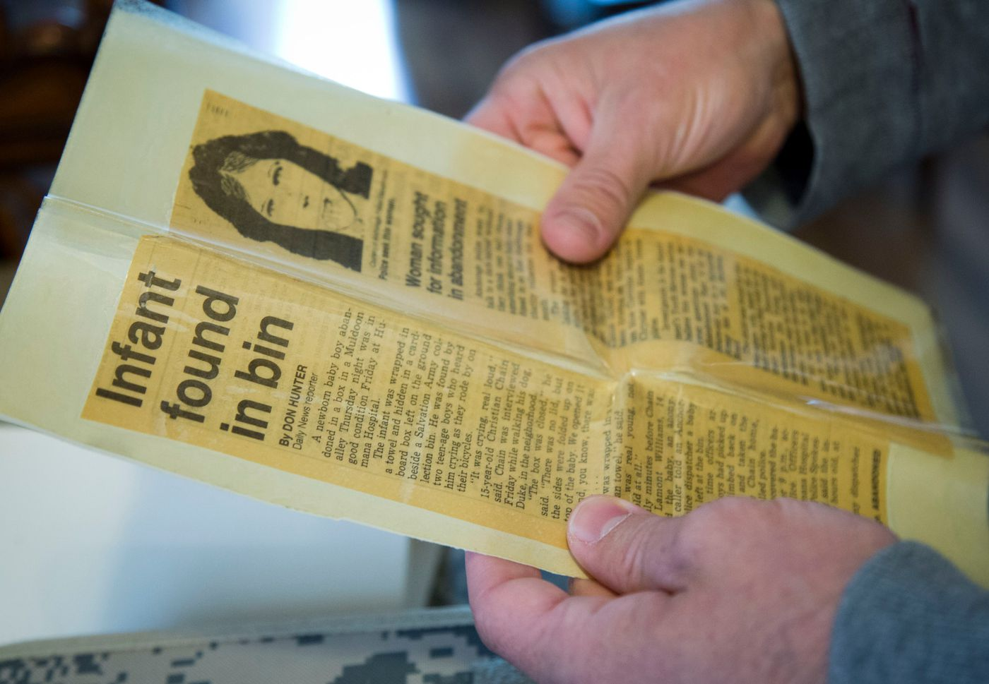 Almost 30 years ago, Benjamin Tveidt was abandoned as a baby outside the Salvation Army thrift store on Muldoon Road, and it made quite a splash in the Anchorage newspapers. The police composite is a woman of interest — not necessarily his birth mother —who was never found. Tveidt, who now lives in Boise, Idaho, is trying to find his birth family. (Katherine Jones / Idaho Statesman)