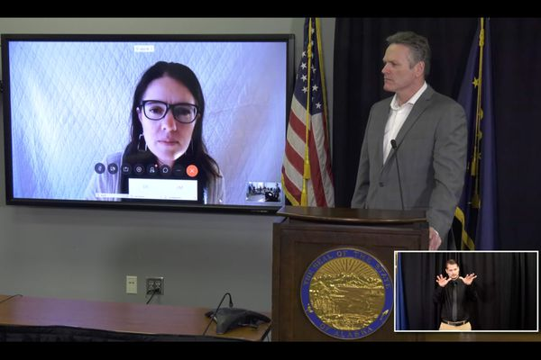 Dr. Anne Zink and Gov. Mike Dunleavy hold a press conference, March 30, 2020. (Press conference screenshot)