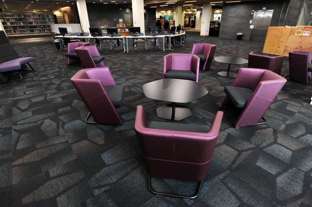 New furnishings fill expanded space on the 3rd floor. (Erik Hill / Alaska Dispatch News)