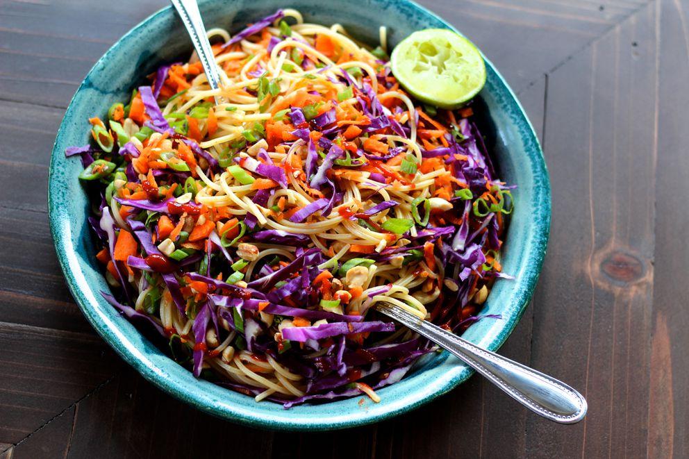 Cold peanut noodle salad. (Maya Wilson / Alaska from Scratch)