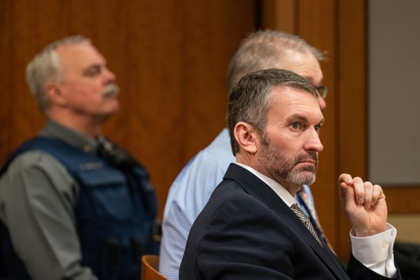 Anthony Pisano listens to his attorney Kevin Fitzgerald cross-examine Michael Dupree during Pisano's murder trial Thursday, Feb. 13, 2020 at the Nesbett Courthouse in Anchorage. Pisano faces nine counts of murder in the Sept. 2017 deaths of 31-year-old Steven Cook, 48-year-old Kenneth Hartman and 31-year-old Daniel McCreadie. (Loren Holmes / ADN)