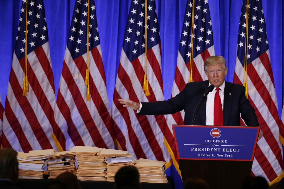 President-elect Donald Trump speaks during a news conference in the lobby of Trump Tower in Manhattan, January 11, 2017. REUTERS/Lucas Jackson