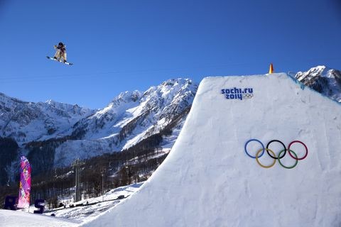 Ryan Stassel of the U.S. gets air during his run in the men's snowboard slopestyle semi-final at the Rosa Khutor Extreme Park during the 2014 Winter Olympics in Krasnaya Polyana, Russia, Feb. 8, 2014. Stassel did not qualify for the final. (Doug Mills/The New York Times)