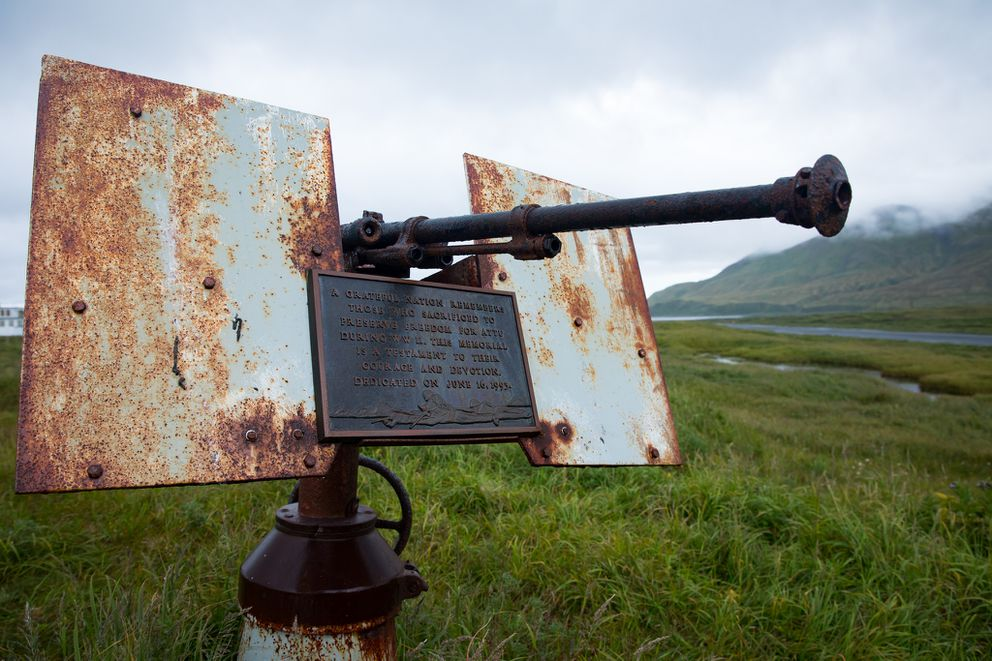 "The plaque on this anti-aircraft gun reads: ""A grateful nation remembers those who sacrificed to preserve freedom for Attu during WWII. This memorial is a testament to their courage and devotion. Dedicated on June 16, 1993."" (Lisa Hupp/USFWS)"