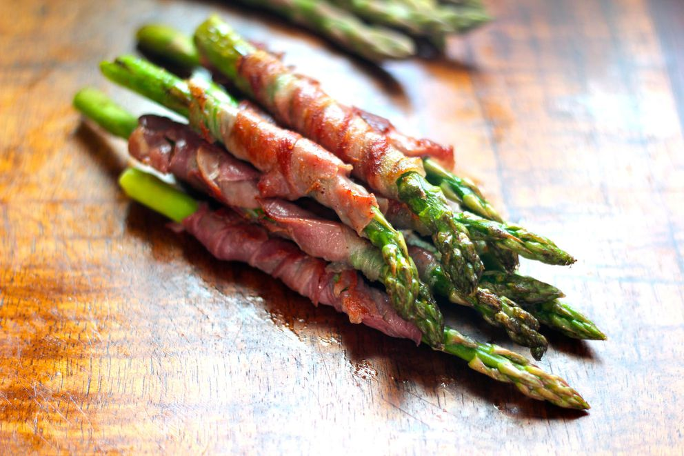 Prosciutto-wrapped asparagus (Maya Wilson / Alaska from Scratch)