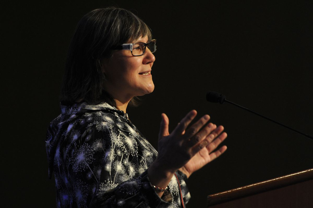 Lt. Gov. Valerie Nurr'araaluk Davidson delivered the keynote address during the AFN Convention in the Dena'ina Center on Thursday, Oct. 18, 2018. (Bill Roth / ADN)