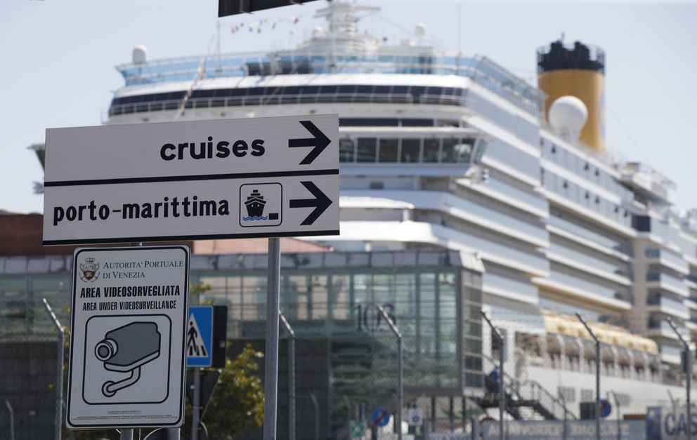 A cruise ship is moored at the Venice harbor, Italy, on June 2, 2019. (AP Photo/Luca Bruno)