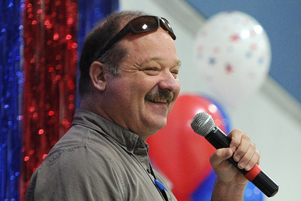 Rick Green, aka Rick Rydell, emceed the Republican Rally at Anchorage Christian Schools on Sunday, Nov. 4, 2018, two days before Election Day. (Bill Roth / ADN)