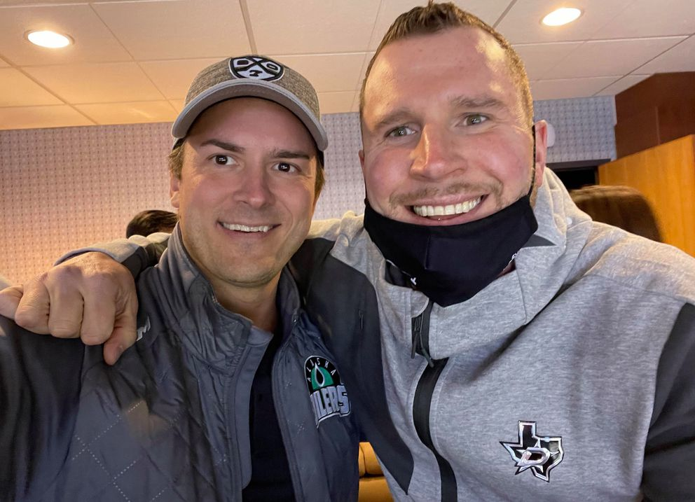 Alaska All Stars coach Merit Waldrop, left, and Chapparal Ice rink manager Adam Powell pose for a picture Friday at the ice rink. Powell is from Fairbanks but lives in Austin now. (Photo by Merit Waldrop)