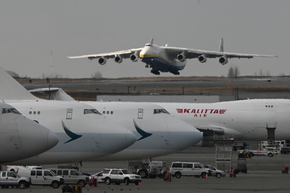 The world's largest cargo plane, the Antonov An-225 Mriya, landed at Ted Stevens Anchorage International Airport on Thursday, April 30, 2020, while transporting medical supplies to Canada during the COVID-19 pandemic. (Bill Roth / ADN)