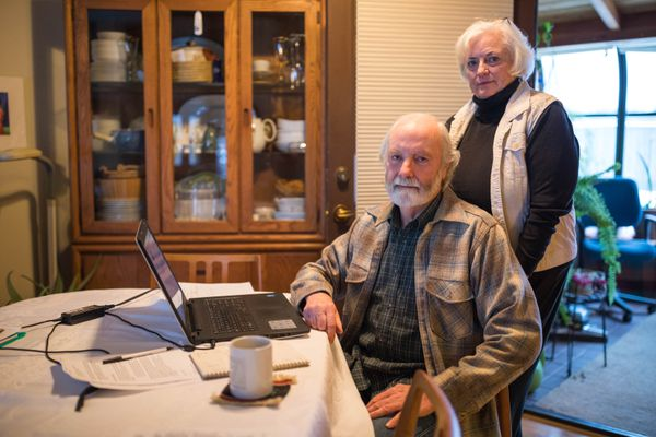 Roger Hudson and his wife Mary Martin Saturday, Jan. 13, 2018 at their home in West Anchorage. Hudson and Martin are board members of Results, an anti-poverty non-profit group. (Loren Holmes / ADN)