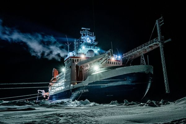 The RV Polarstern, which is drifting on the Arctic Ocean for one year and hosting many scientific experiments. The icebreaker is owned by the Alfred Wegener Institute of Bremerhaven, Germany, and will house more than 600 scientists from more than 20 countries before its year-long mission ends in September 2020. Photo by Lukas Piotrowski, Alfred Wegener Institute. (Photo by Lukas Piotrowski / Alfred Wegener Institute)