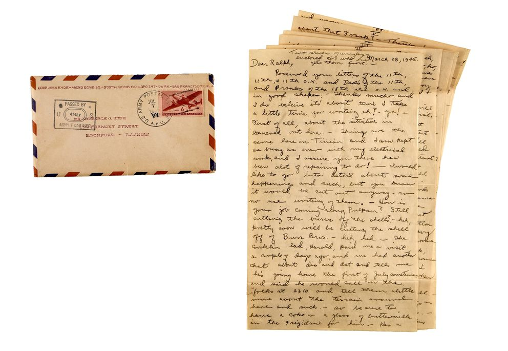 John Eyde's letter home, dated March 28, 1945 (Washington Post photo by Bill O'Leary)