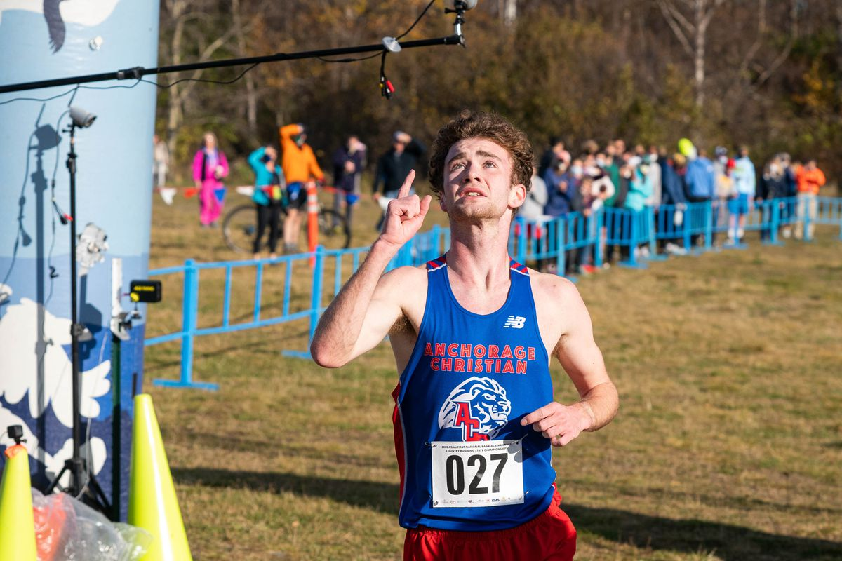 Tristian Merchant of Anchorage Christian Schools wins the Division II Alaska state cross country championship Saturday, Oct. 10, 2020 at Kincaid Park. Merchant won the 5-kilometer race with an unofficial time of 14:51. (Loren Holmes / ADN)