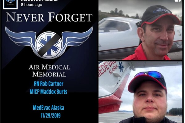 In a Facebook post late Sunday, Dec. 1, 2019, Medevac Alaska identified its two employees aboard a crashed Security Aviation plane as Rob Cartner and Maddox Burts.