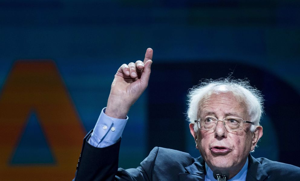 Democratic presidential candidate Sen. Bernie Sanders speaks at the 2019 California Democratic Party State Organizing Convention in San Francisco. At his inauguration, Sanders would be 79. Washington Post photo by Melina Mara