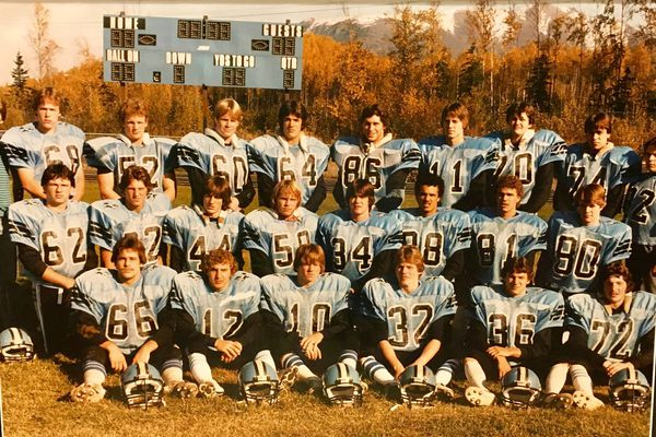 The 1984 Chugiak High varsity football team. Back row: manager Bryan Baker, Eric Magnuson, Ron Heidemann, Jim Kulaszewicz, Robert Steed, Tom Huffer Jr., Jeff Wanamaker, Mike Homan, Mark Lemery, Manager Craig Sanborn; middle row: Sean Barber, Eddie Blahous, Ken Jinks, Dave Wilkins, Andy Ruffing, Jim Triplett, Ken Ziegler, Marty Shaevitz; front row: Vince Valencia, Ernie Stoltenberg, Wes Ripper, Rod Smith, Mike McClung, Ron Schierholt. (Photo submitted by Eric Magnuson)