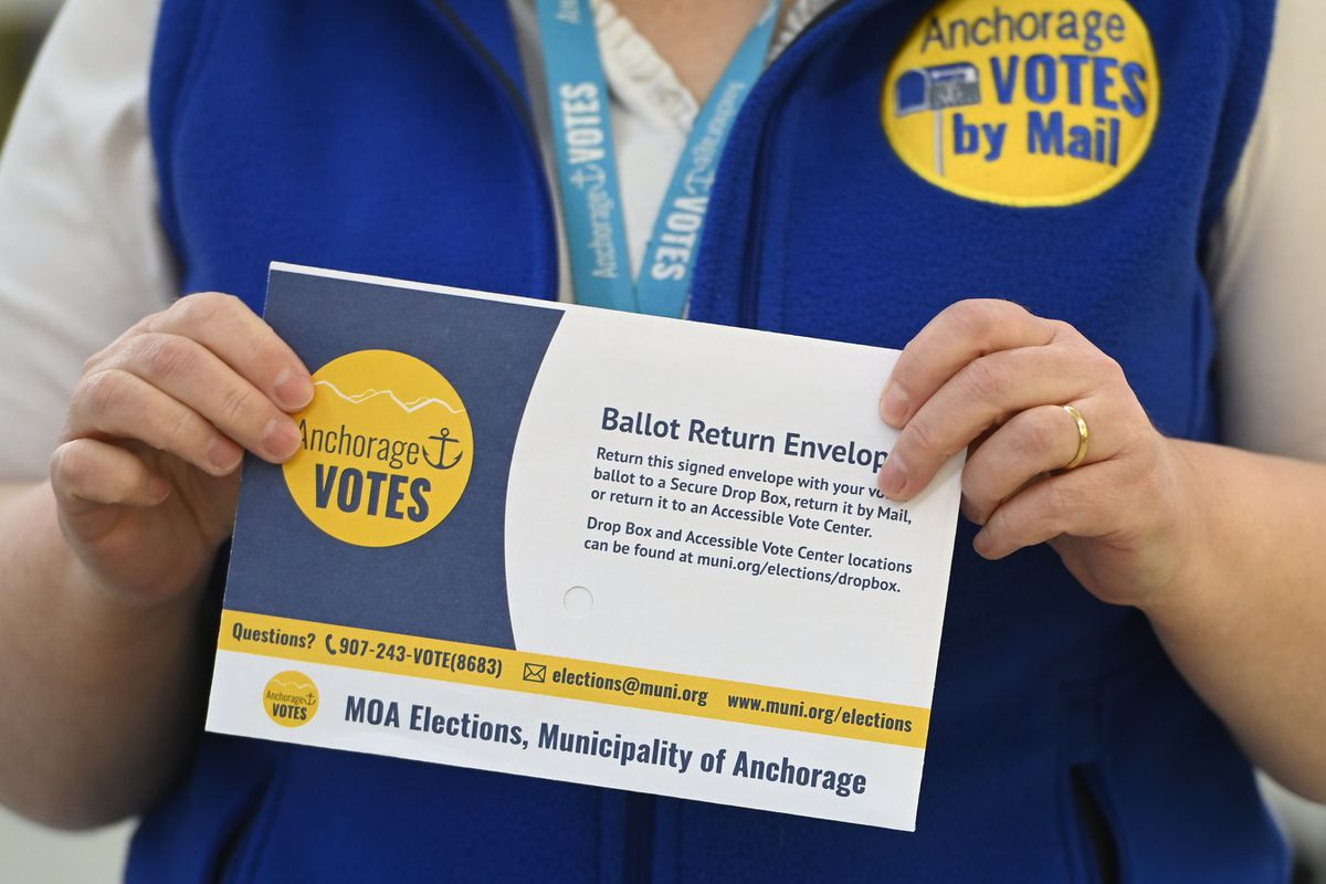 Vote-by-mail ballot return envelope at the city's Election Center on Monday, March 3, 2021. (Bill Roth / ADN)