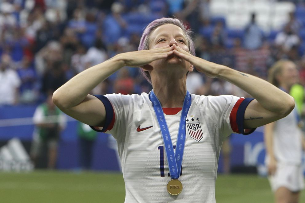 United States' Megan Rapinoe blows a kiss to the public after the U.S won the Women's World Cup final soccer match between US and The Netherlands at the Stade de Lyon in Decines, outside Lyon, France, Sunday, July 7, 2019. (AP Photo/Claude Paris)