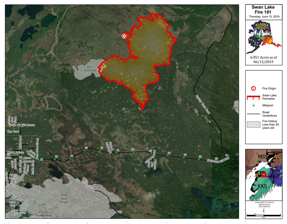 A wildfire burning about 5.5 miles northeast of Sterling on the western Kenai Peninsula had spread to nearly 7,000 acres by June 13, 2019. Firefighters were letting the blaze, which was ignited by a lightning strike, run its natural course. (Map by Alaska Division of Forestry.)