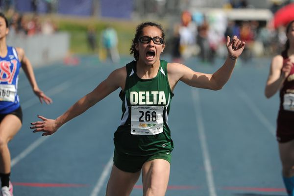 Hailey Williams, of Delta Junction, wins the 100-meter race during the Alaska State Track & Field Championships at Palmer High in Palmer, AK on Saturday May 26, 2018. (Bob Hallinen / ADN)