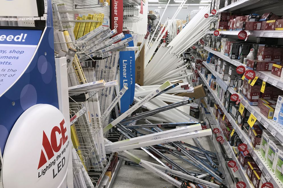 Every aisle in the Andy's Ace Hardware in Muldoon had damage after a 7.1 earthquake on Friday, Nov. 30, 2018. (Bill Roth / ADN)