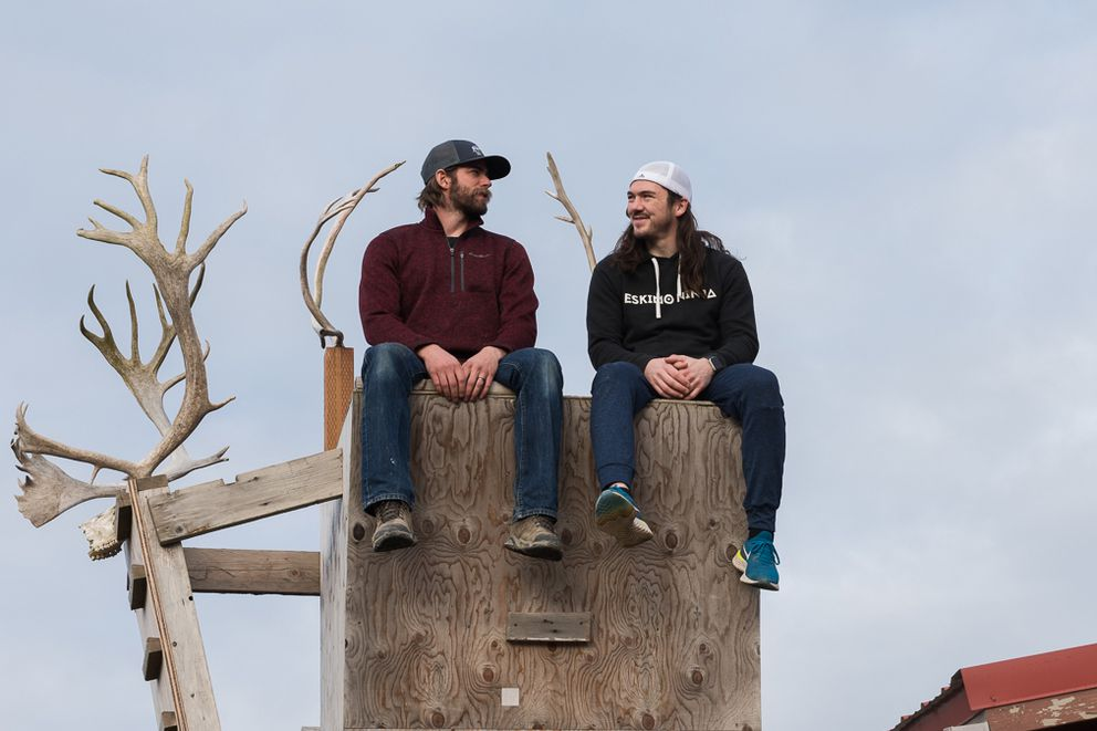 American Ninja Warriors Nate DeHaan of Bethel and Nick Hanson of Unalakleet on DeHaan's warped wall. (Katie Basile / KYUK)