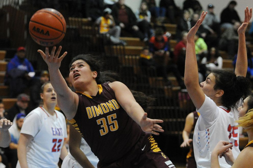 Dimond sophomore Alissa Pili puts up a shot during the Lynx 86-55 victory over the East High Thunderbirds on Tuesday, Jan. 17, 2017. (Bill Roth / Alaska Dispatch News)