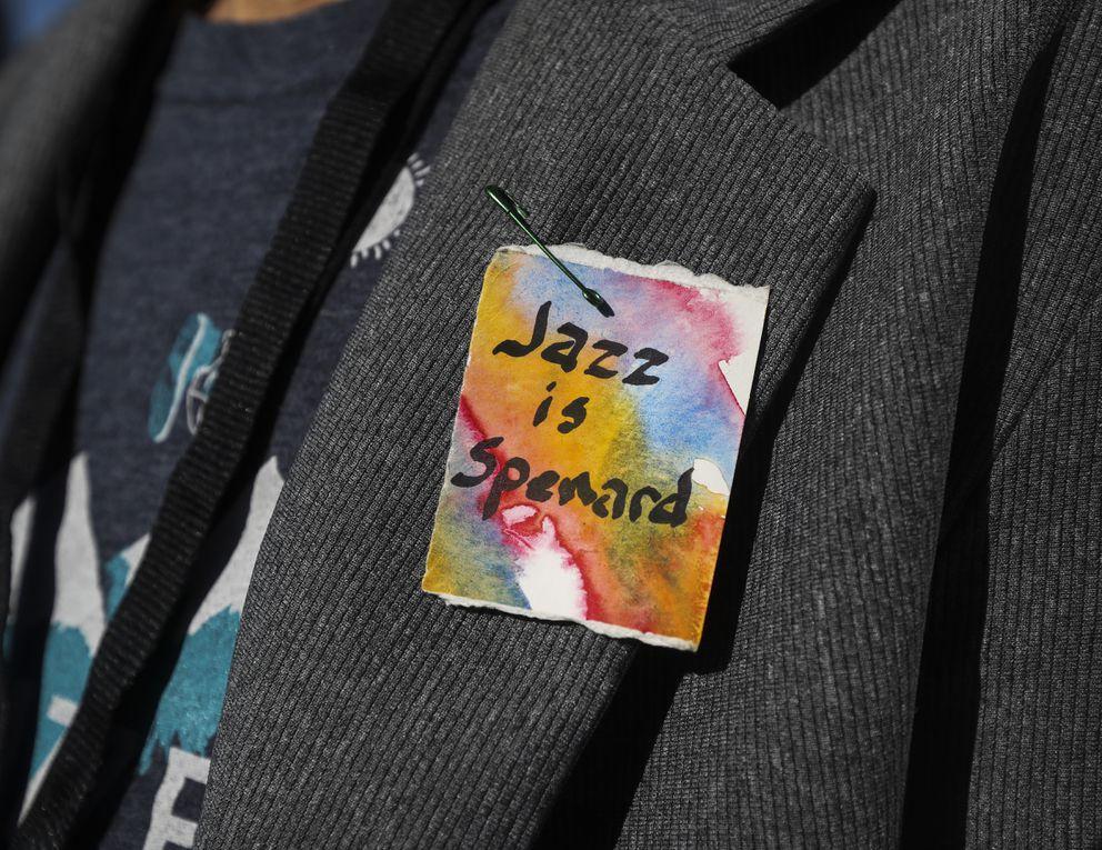 Spenard Jazz Fest Director Yngvil Vatn Guttu wears a homemade pin gifted to her. (Emily Mesner / ADN)