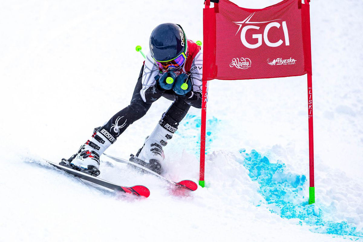 Jaxon Murphy takes a direct line into the finish Friday during Coca-Cola Classic giant slalom racing at Alyeska. (Courtesy Bob Eastaugh)
