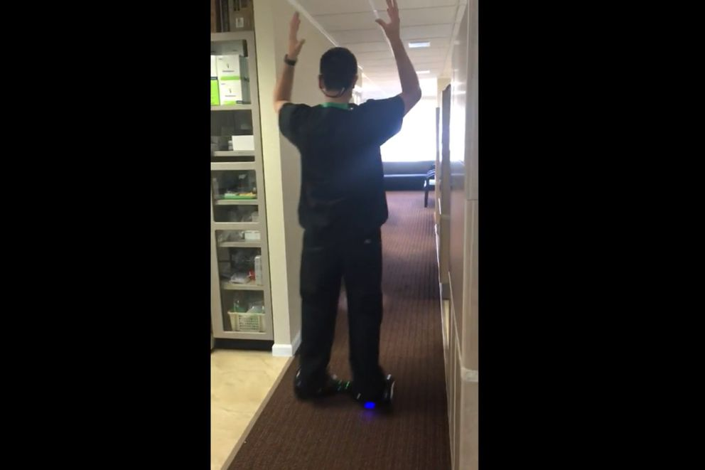 Alaska dentist Seth Lookhart rides his hoverboard after extracting a tooth from unconscious patient while riding on the hoverboard. (Alaska Court System)