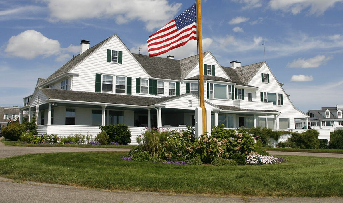 FILE - This Aug. 27, 2009 file photo shows the main home in the Kennedy family compound in Hyannis Port, Mass. Robert F. Kennedy's granddaughter, Saoirse Kennedy Hill, has died at the age of 22. The Kennedy family released a statement on Thursday night, Aug. 1, 2019, following reports of a death at the family's compound in Hyannis Port. Hill was the daughter of Robert and Ethel Kennedy's fifth child, Courtney, and Paul Michael Hill. (AP Photo/Stew Milne, File)
