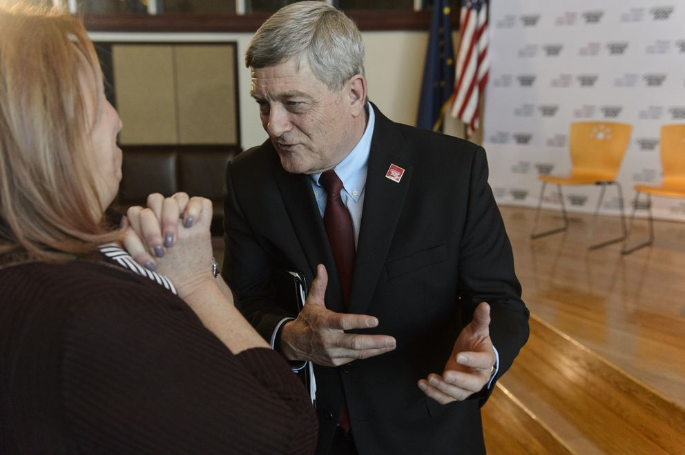 U.S. Census Bureau director Steven Dillingham, right, talks with Carol Gore, president of Cook Inlet Housing Authority. The U.S. Census Bureau held a kickoff event and news conference at Alaska Native Heritage Center in Anchorage on January 17, 2019. The first count of 2020 U.S. Census begins in Toksook Bay on Jan. 21. (Marc Lester / ADN)