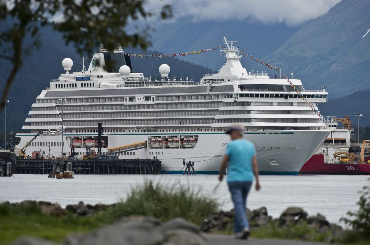 The Crystal Serenity, a Crystal Cruises vessel, is docked in Seward on Tuesday. (Marc Lester / ADN archives)