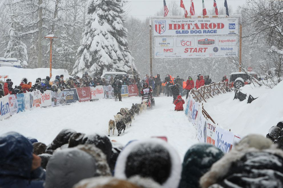 Iditarod veteran Laura Neese and her dog team from McMillan, MI leave the restart of the Iditarod Trail Sled Dog Race in Willow on March 8, 2020. (Bill Roth / ADN archive)