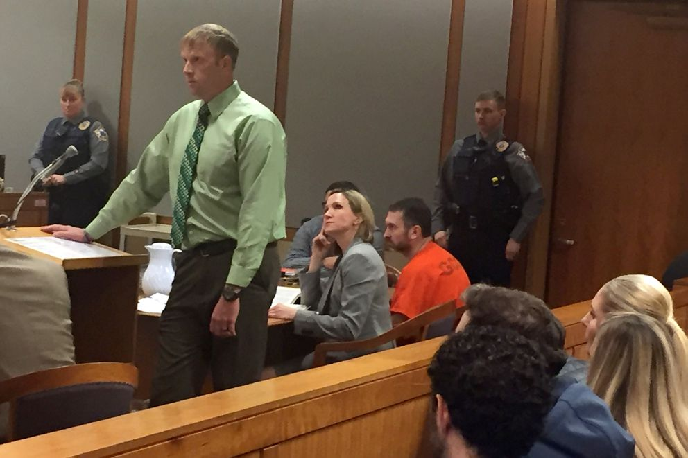 Drew Lufkin, a friend of Anthony Pisano, speaks to the court Tuesday. Pisano is at the defendant's table, in orange. (Alex DeMarban / Alaska Dispatch News)